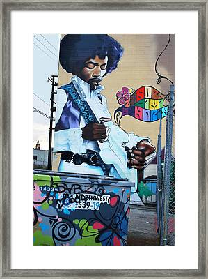 Framed Print featuring the mixed media Jimmy Hendrix by Bill Thomson