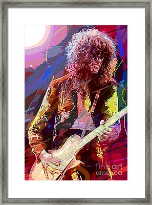 Jimmy Page Les Paul Gibson Framed Print by David Lloyd Glover