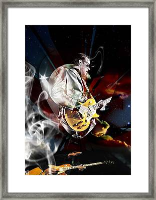 Joe Bonamassa Blue Guitarist Art Framed Print by Marvin Blaine