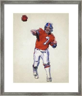 John Elway Denver Broncos Art Framed Print