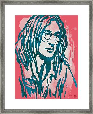 John Lennon Pop Stylised Art Sketch Poster Framed Print by Kim Wang
