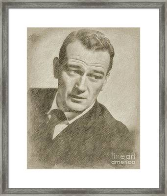 John Wayne Hollywood Actor Framed Print by Frank Falcon