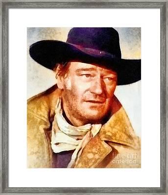 John Wayne, Vintage Hollywood Legend Framed Print by Frank Falcon