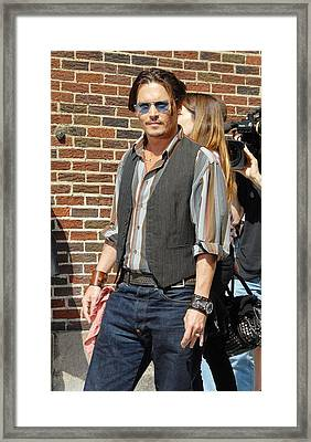 Johnny Depp At Talk Show Appearance Framed Print