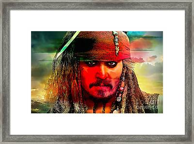 Johnny Depp Painting Framed Print by Marvin Blaine