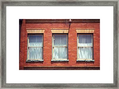 Jonesborough Tennessee Three Windows Framed Print by Frank Romeo