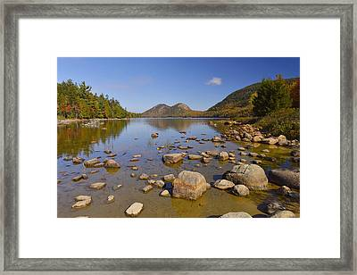 Framed Print featuring the photograph Jordan Pond In Autumn by Stephen  Vecchiotti