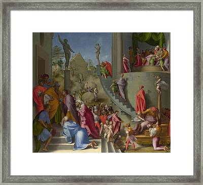 Joseph With Jacob In Egypt Framed Print by Jacopo Pontormo