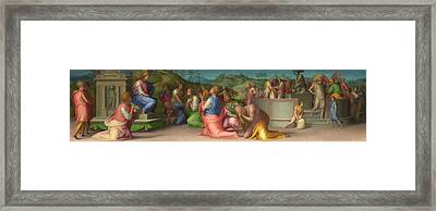 Joseph's Brothers Beg For Help Framed Print by Jacopo Pontormo