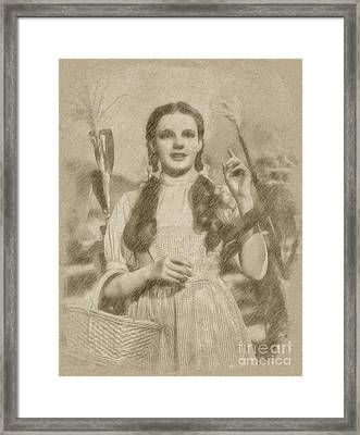 Judy Garland Vintage Hollywood Actress As Dorothy In The Wizard Of Oz Framed Print by Frank Falcon