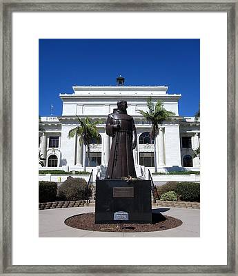 Framed Print featuring the photograph  Serra At City Hall by Mary Ellen Frazee