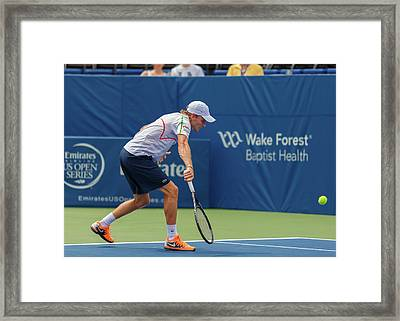 Jurgen Melzer Plays Center Court At The Winston-salem Open Framed Print
