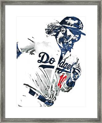 Framed Print featuring the mixed media Justin Turner Los Angeles Dodgers Pixel Art by Joe Hamilton