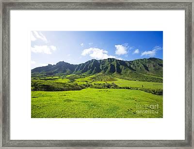 Kaaawa Valley And Kualoa Ranch Framed Print by Dana Edmunds - Printscapes