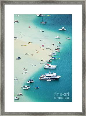 Kaneohe Bay, Boats Framed Print by Ron Dahlquist - Printscapes