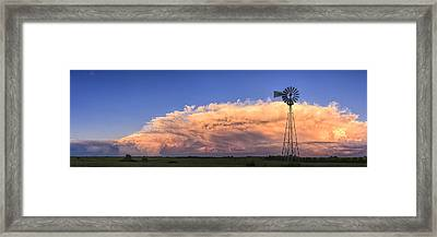 Kansas Storm And Windmill Framed Print