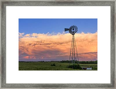 Kansas Windmill And Storm Framed Print