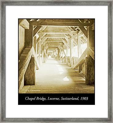 Kapell Bridge, Lucerne, Switzerland, 1903, Vintage, Photograph Framed Print