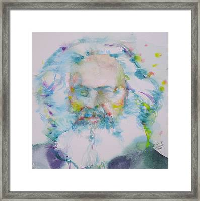 Karl Marx - Watercolor Portrait Framed Print