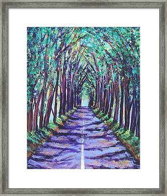 Framed Print featuring the painting Kauai Tree Tunnel by Marionette Taboniar