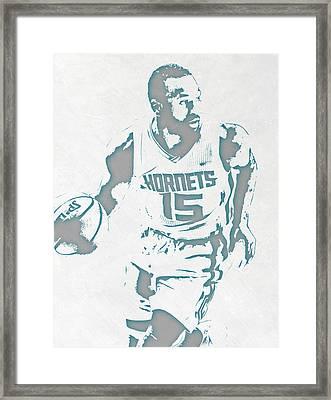Kemba Walker Charlotte Hornets Pixel Art 3 Framed Print by Joe Hamilton