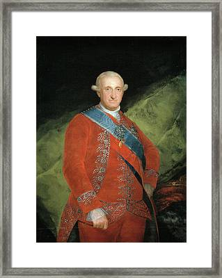 King Carlos Iv In Red Framed Print