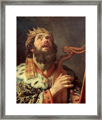King David Playing The Harp Framed Print