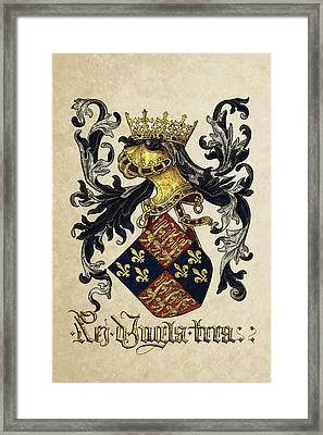 King Of England Coat Of Arms - Livro Do Armeiro-mor Framed Print by Serge Averbukh