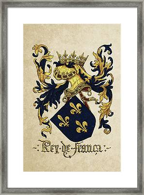 King Of France Coat Of Arms - Livro Do Armeiro-mor  Framed Print by Serge Averbukh
