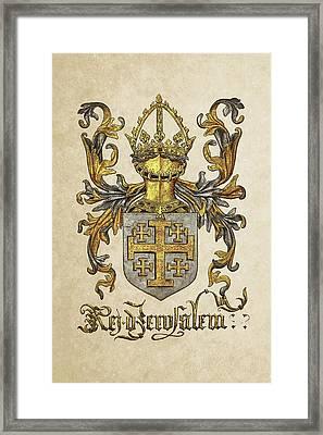 Kingdom Of Jerusalem Coat Of Arms - Livro Do Armeiro-mor Framed Print by Serge Averbukh