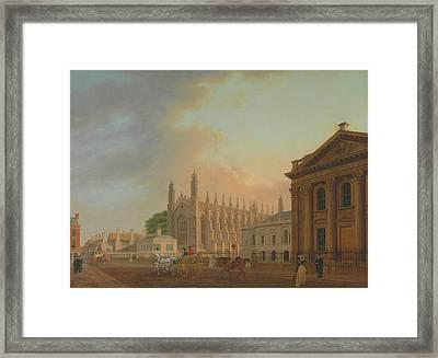 King's Parade - Cambridge Framed Print by Thomas Malton The Younger