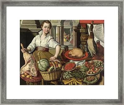 Kitchen Scene, With Jesus In The House Of Martha And Mary In The Background, 1569 Framed Print
