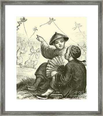 Kite Flying In China  Framed Print by English School