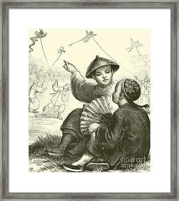 Kite Flying In China  Framed Print
