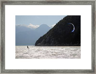 Kite Surfing The Spit In Squamish B.c Canada Framed Print by Pierre Leclerc Photography