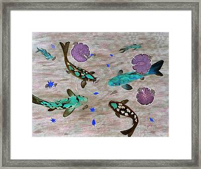 Koi Fish Feng Shui Framed Print by Georgeta  Blanaru