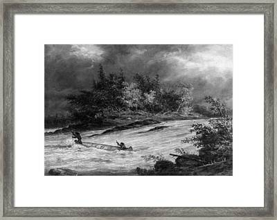 Krieghoff: Canoe On Rapids Framed Print