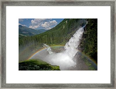 Krimml Waterfall And Rainbow Framed Print