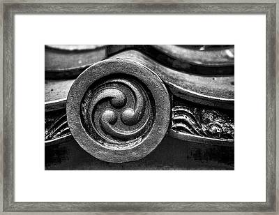 Kyoto Temple Roof Tile Detail Framed Print by Carol Leigh