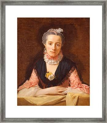 Lady In A Pink Silk Dress Framed Print