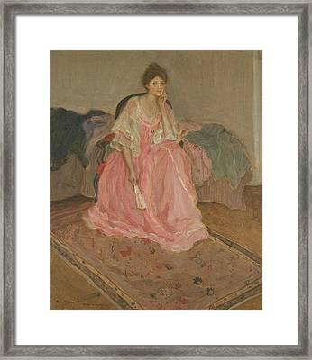 Lady In Pink Framed Print by Frederick Carl Frieseke