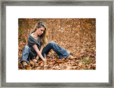 Lady On Leaves Framed Print by Ralf Kaiser