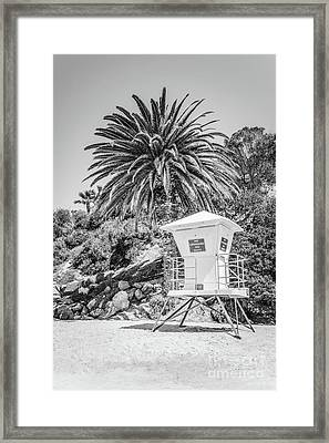 Laguna Beach Lifeguard Tower Black And White Picture Framed Print