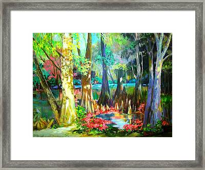 Framed Print featuring the painting Lake Arthur Swamp by AnnE Dentler