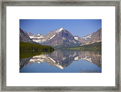 Lake At Many Glacier Framed Print by Richard Steinberger