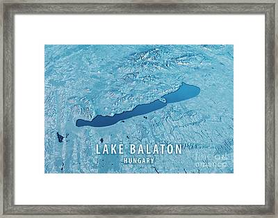 Lake Balaton 3d Render Satellite View Topographic Map Horizontal Framed Print by Frank Ramspott