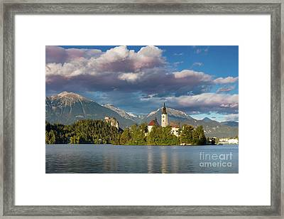 Framed Print featuring the photograph Lake Bled Evening by Brian Jannsen