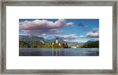 Framed Print featuring the photograph Lake Bled Panoramic by Brian Jannsen