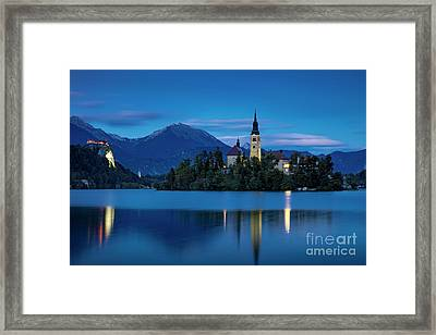 Framed Print featuring the photograph Lake Bled Twilight by Brian Jannsen