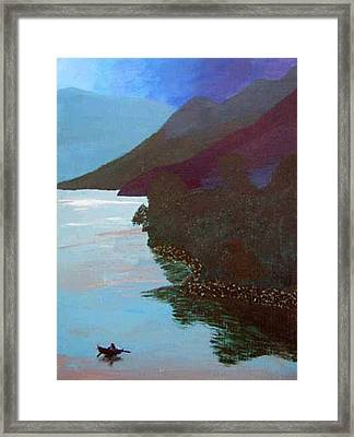 Lake By The Mountains Framed Print